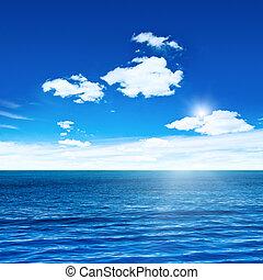 azul, mar, y, cielo, con, sol