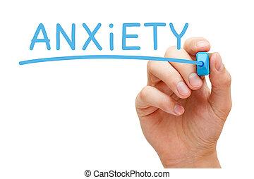 azul, marcador, ansiedade