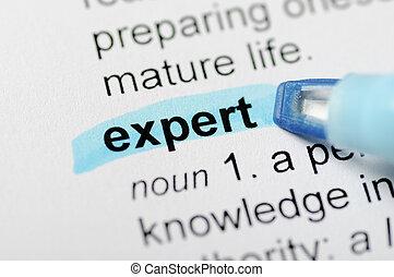 azul, marcador, palabra, experto