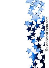 azul, marco, aislado, estrellas