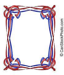 azul, marco, cinta roja