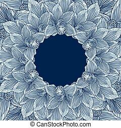 azul, marco, flor, orquídea