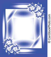 azul, marco, flores