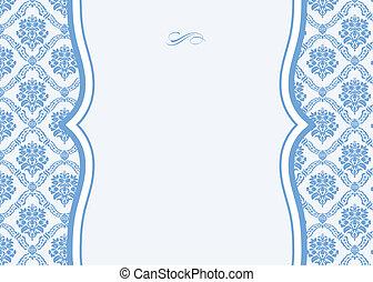 azul, marco, vector, florido