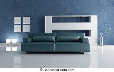 azul marino, sofá, y, blanco, vacío, estante libros