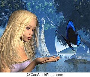 azul, mariposa, agua, ninfa