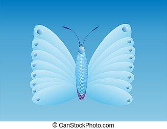 azul, mariposa, uno