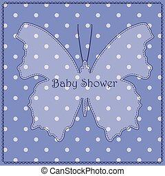 azul, mariposa, vendimia, polca, ducha, bebé, punto