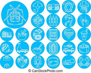 azul, marisco, vetorial, cobrança, ícones