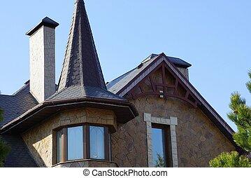 azul, marrón, piedra, desván, windows, cielo, techo, contra, embaldosado