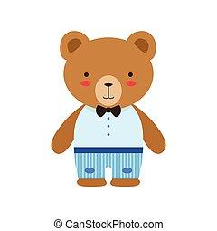 azul, marrón, poco, juguete, corbata, lindo, vestido, cima, niño, oso, arco, animal, bebé, pantalones blancos
