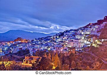 azul, marrocos, cidade, chefchaouen, pôr do sol