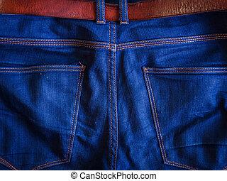 azul, marrom, couro, calças brim, traseiro, cinto