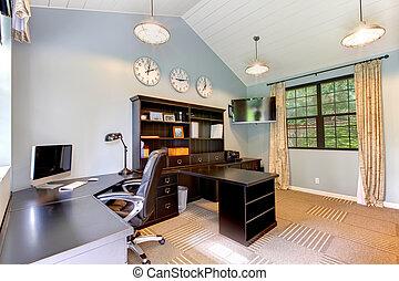 azul, marrom, furniture., escritório, modernos, escuro, desenho, interior, lar