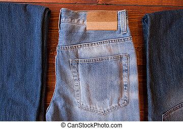 azul, marrom, madeira, calças brim, experiência., jeans., backg, roupas