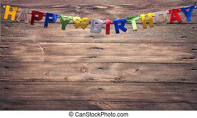 azul, marrom, parede, com, a, inscrição, feliz aniversário