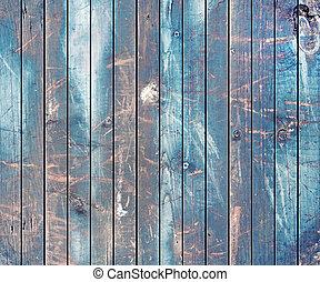 azul, marrom, pintado, madeira, fundo, pranchas