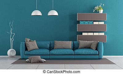 azul, marrom, quarto moderno, vivendo