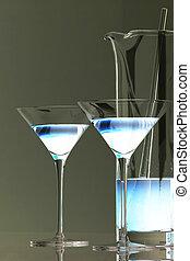 azul, martini, hielo