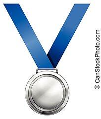 azul, medalha, prata, fita