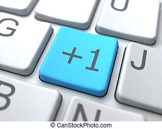 azul, medios, botón, social, keyboard., concept.
