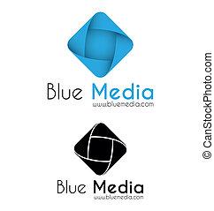 azul, medios, logotipo, plantilla