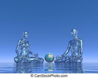 azul, meditação, para, terra, -, 3d, render