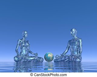 azul, meditación, para, tierra, -, 3d, render