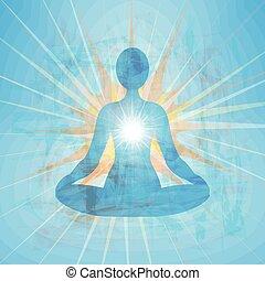 azul, meditar, silueta