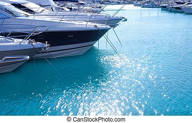 azul, mediterráneo, agua, mar, puerto deportivo, puerto