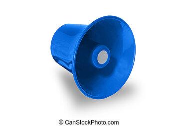 azul, megafone