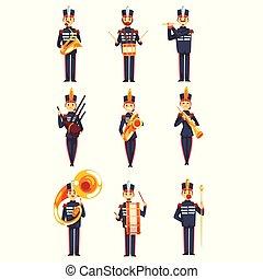 azul, membros, exército, jogo, instrumentos, ilustração, uniforme, faixa, vetorial, fundo, militar, soldados, branca, tocando, musical