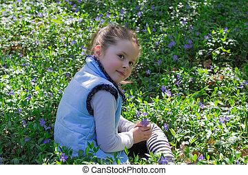 azul, menina, flores, prado