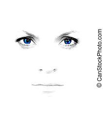 azul, menina, olhos, bonito