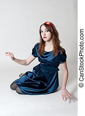 azul, menina, vestido