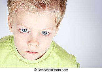 azul, menino, eyed