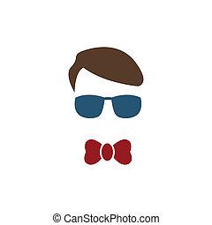 azul, menino, jovem, óculos