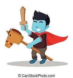 azul, menino, montando, meta cavalo, e, segurando, madeira, espada