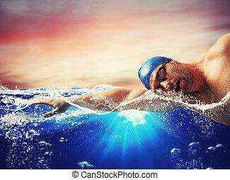 azul, menino, nada, água, profundo