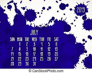 azul, mensal, pintura, 2019, ano, julho, calendário