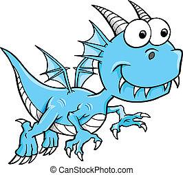 azul, mentecato, tonto, vector, dragón
