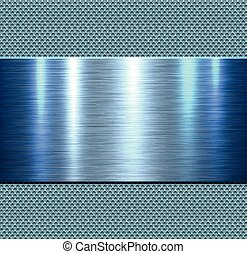 azul, metal, fundo, polido
