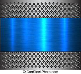 azul, metal, fundo, textura, prata