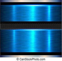azul, metal, fundo, textura