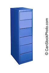 azul, metal, gabinete