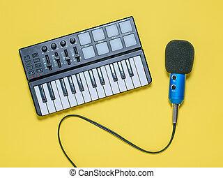 azul, microfone, fios, experiência., misturador, top., música, amarela, vista