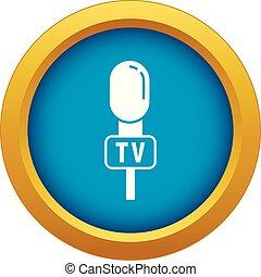 azul, microfone, isolado, vetorial, orador, ícone