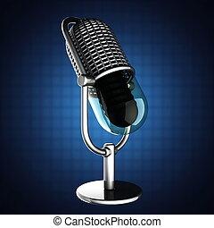 azul, microfone, retro, fundo