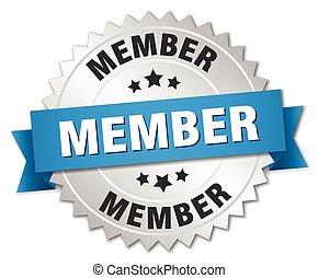 azul, miembro, insignia, plata, cinta, 3d