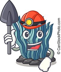 azul, minero, agua, alga, mar, debajo, caricatura
